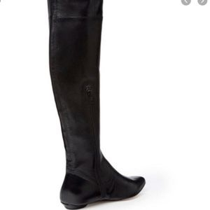 Renvy Mott Black Flat Leather Over the Knee Boots